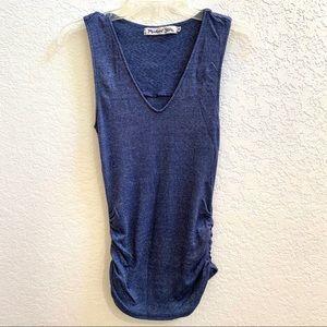 Michael Stars Ruched Blue Sleeveless Shirt EUC